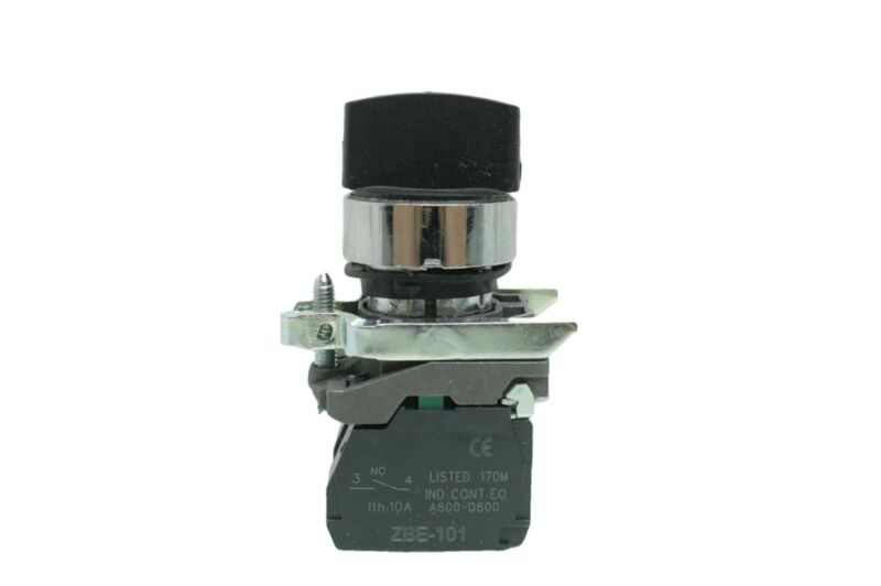 Schneider Electric XB4BD33 3-Position Selector Switch, Black