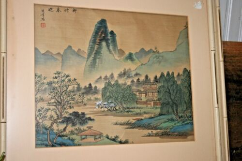 ANTIQUE Signed Japanese Painting on Silk Landscape Village Chinese Asian Art VTG