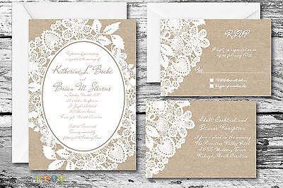 100 Burlap & Lace Rustic Wedding Invitation Suite with Envelopes
