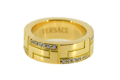 Versace Diamond 18K Yellow Gold Ring 8mm Size 9