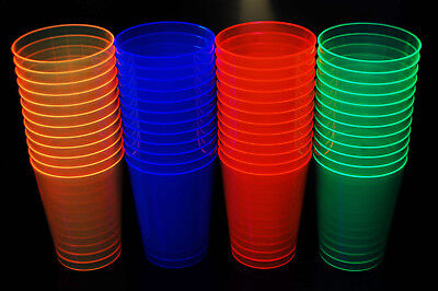 Neon Party Supplies (Assorted Neon Blacklight Reactive 10oz Party Cups)