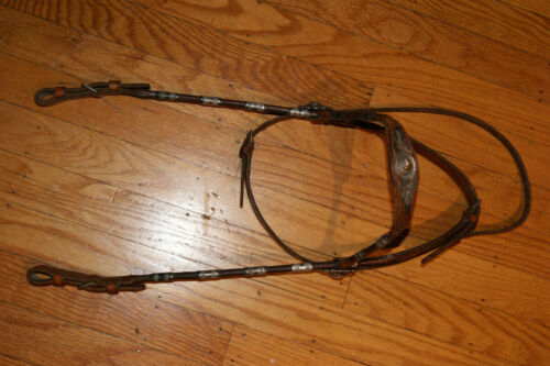 Antique keyston parade  bridle sterling and 14k conchos