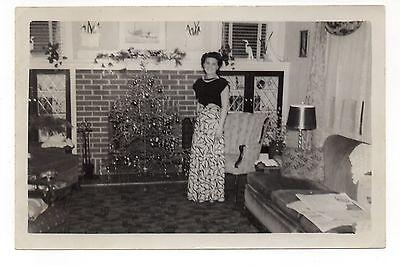 Vintage Photo Beautiful Young Woman, Small Christmas Tree, Living Room, 50's Mar