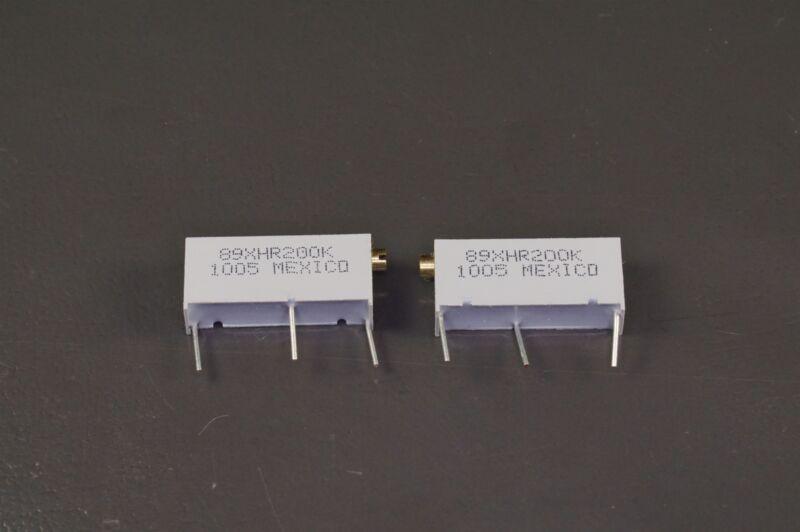 Lot of 2 89XHR200K BI Tech Trimmer Resistor 200k Ohm 10% 3/4W 20 Turn Thru Hole