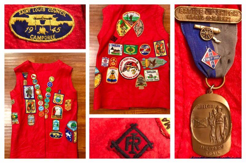 1940s-70s BSA Boy Scouts St Louis Region Vest w/44 Patches Irondale Shiloh Medal