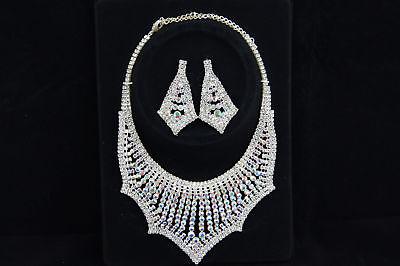 - Crystal Clear + AB Rhinestone Necklace Earring Jewelry Set Wedding Bridal Party