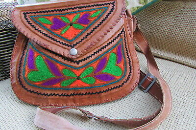 VINTAGE BOHO Style Brown Tan Leather Embroidered Satchel Cross Body Hand Bag