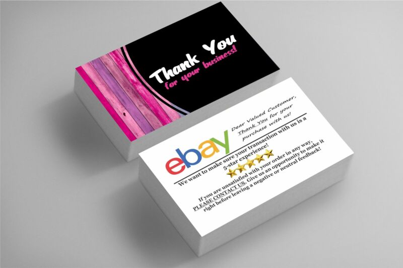 1000 FULL COLOR BUSINESS CARDS | EBAY SELLERS THANK YOU | WOOD | FREE SHIPPING