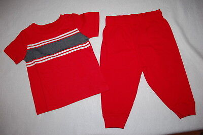 Baby Boys Outfit RED GRAY WHITE S/S TEE SHIRT Knit Pants w/ Ribbed Cuffs 6-9 MO Baby Rib S/s T-shirt