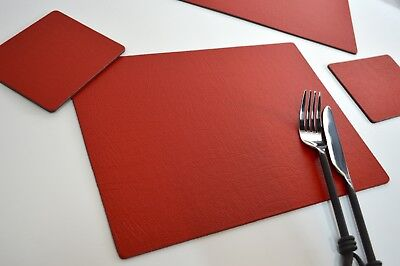 Set of 6 ARTISAN RED Bonded Leather PLACEMATS & 6 COASTERS, UK Made TABLE MATS