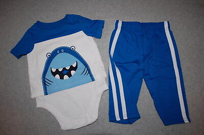 faee33bdf8f5 Baby Boys Outfit SHARK EATING FISH Blue White TEE SHIRT   KNIT PANTS Size 3-