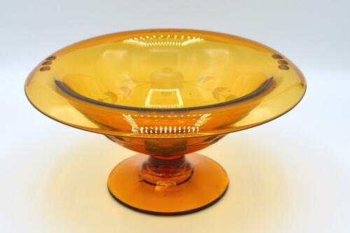 Vintage Etched Amber Glass Compote - Floral and Dot Pattern