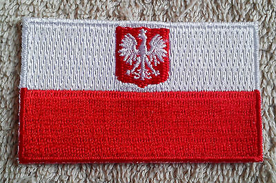 POLAND FLAG PATCH Embroidered Badge Iron Sew on 4.5cm x 6cm Polska Coat of Arms