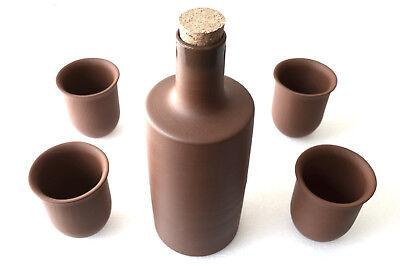 Tonset Tonflasche 1 l und 4 0,2 l Becher Tonbecher unglasiert