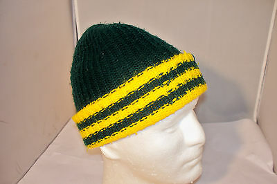 Vintage Green & Yellow Winter Knit Hat Cap Green Bay Packers Colors for sale  Denmark