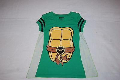 JR Womens Tee Shirt TMNT NINJA TURTLE Green Cap Sleeve CAPE Shell Suit M 7-9 (Womens Ninja Turtle Shirt)