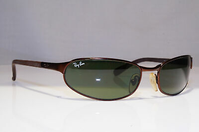 RAY-BAN Mens Vintage 1990 Sunglasses Brown Rectangle FLIGHT RB 3142 012 24370