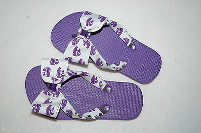Toddler Girls Flip Flops K STATE POWERCAT Purple White HAND DEOCRATED Bow 10-11 - K State Powercat