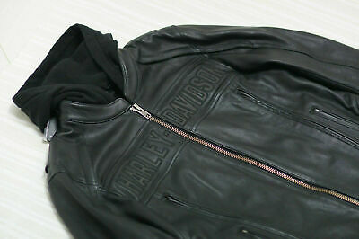 2 XL Harley Davidson Men's Road Warrior Reflective Leather Jacket 3-in 1