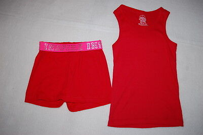 Girls Outfit RED TANK TOP Ribbed KNIT SHORTS Fold Top INSPIRE Pink XS 4-5