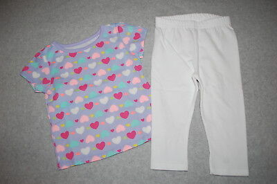 Lavender Toddler T-shirt - Toddler Girls Outfit S/S T-SHIRT Lavender PINK AQUA HEARTS White Leggings 24 MO