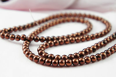 (*140pcs 6mm Bordeaux/brown Color Imitation Acrylic Round Loose Pearl Beads*)