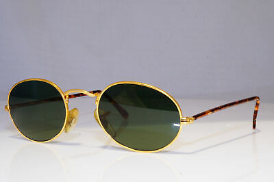 RAY-BAN Mens Vintage 1990 Designer Sunglasses Gold Oval BAUSCH LOMB 25180