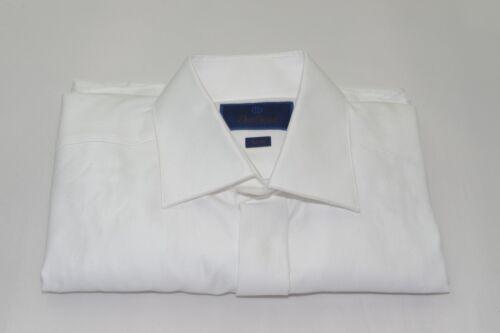 $155 NWOT David Donahue French Cuff Hidden Button Trim Tuxedo Shirt 15 1/2-34/35