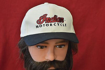 INDIAN MOTORCYCLES ORIGINAL BASEBALL CAP WHITE TOP W/ BLACK BRIM AND INDIAN LOGO