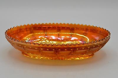 Vintage Imperial Marigold Carnival Glass Oval Relish Dish/Bowl - Frosted Block