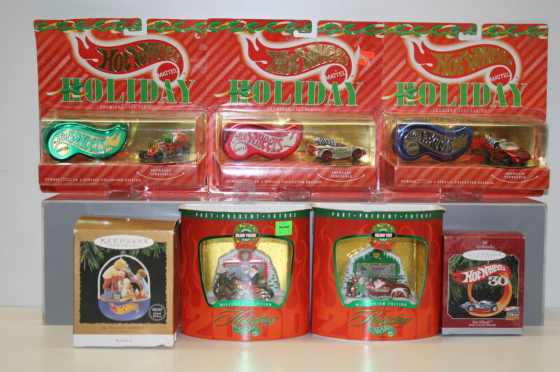 Hot Wheels Christmas Ornaments Collection - 7 Ornaments total  1995-1998