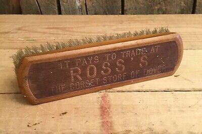 Antique Wooden ROSS'S Corset Store Dover NH Advertising Shoe Shine Brush