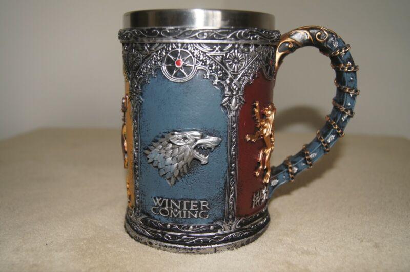 Game of Thrones Stainless Steel Resin Beer Tankard 5 Houses Westeros 600ml, 21oz