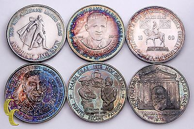 Mardi Gras Doubloon Silver Set (6 Pieces) Krewe of Crescent City Collection