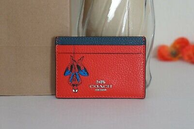 NWT Coach 3597 Marvel Card Case With Spider-Man Miami Red Multi $88