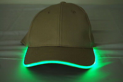 Khaki Fabric Green LED Lighted Glow Hat - Led Lighted Hats