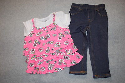 Toddler Girls S/S LAYERED BABYDOLL SHIRT Pink White FLOWERS Dk Blue Jeggings 2T