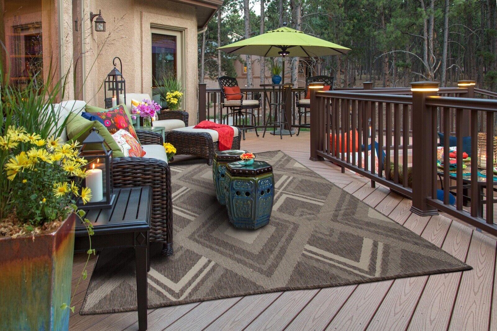 Weather-Proof canny#05 Gray Modern Indoor/Outdoor Area Rug s
