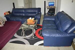 5 seater leather lounge with glass coffee table Westmead Parramatta Area Preview