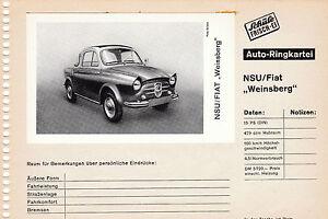 NSU / FIAT Weinsberg * auf Auto - Ringkarteiblatt * orig Sammelbild * 60er Jahre