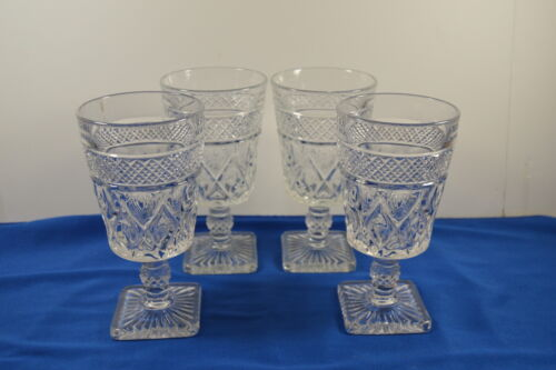 """Set of 4 Imperial Glass Cape Cod Stemmed Goblets 6 1/4"""" Tall"""