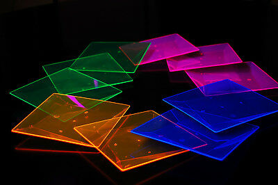Blacklight Reactive 6.5 Inch Square Twist Plastic Party Plates- 10 (Plastic Party Plates)