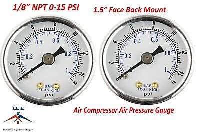 2 Air Compressor Pressurehydraulic Gauge 1.5 Face Back Mount 18 Npt 0-15 Psi
