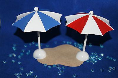 Tischdekoration Sommer Sonne Strand maritim Sonnenschirm rot weiß od. blau weiß