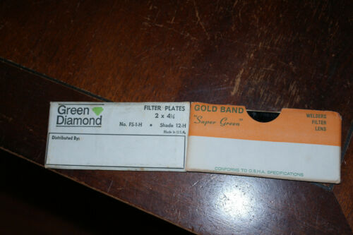 Gold Band and Green Diamond shade 11 and 12 Welding lenses NOS Vintage