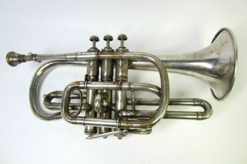 "Vtg. 1902 C.G. Conn The Wonder Cornet Silver Plated SN #72152 ""LOOK"""