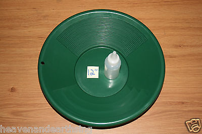 "12"" Plastic GOLD PAN Green Mining Prospecting Panning Kit SNIFTER BOTTLE"
