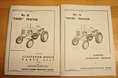 Massey Harris Pacer No 16 Tractor Owner's Manual & Parts Catalog MH Continental
