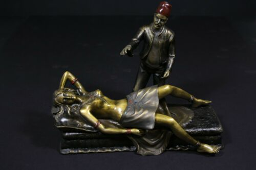 Vienna Bronze Statue, Girl on sofa, Polychrome Cold Painted