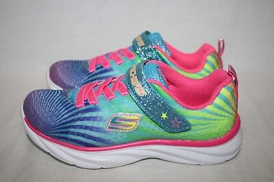 GIRLS SKECHERS SPORT RAINBOW/BLUE GLITTER SHOES - SEE LISTING FOR SIZE (2681)